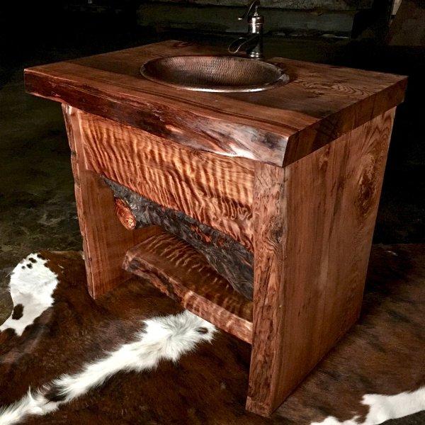 Rustic Wood Slab Bathroom Vanity