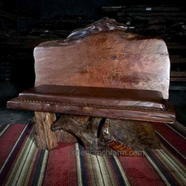 redwood burl rustic bench