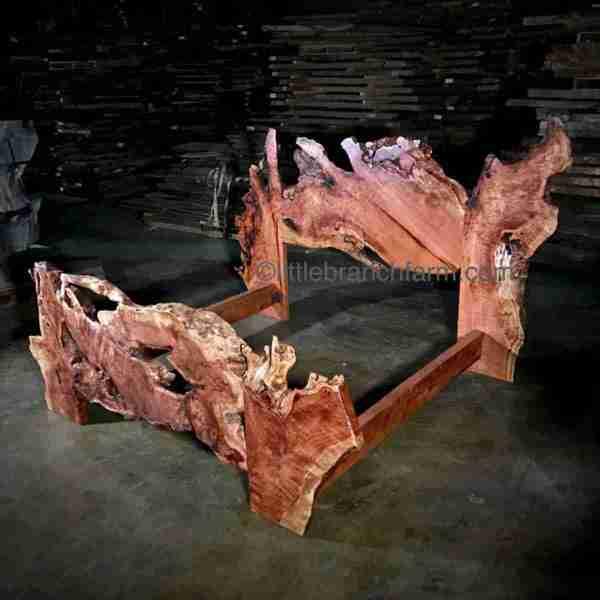Burl wood rustic bed