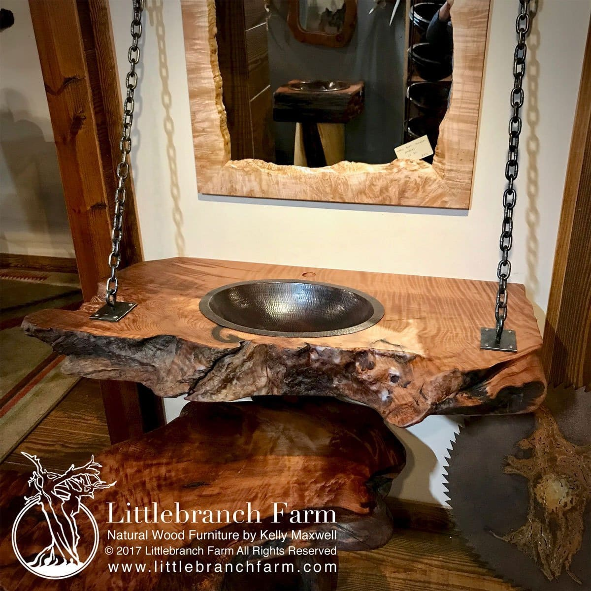 Hanging Wood Slab Bathroom Vanity  Littlebranch Farm