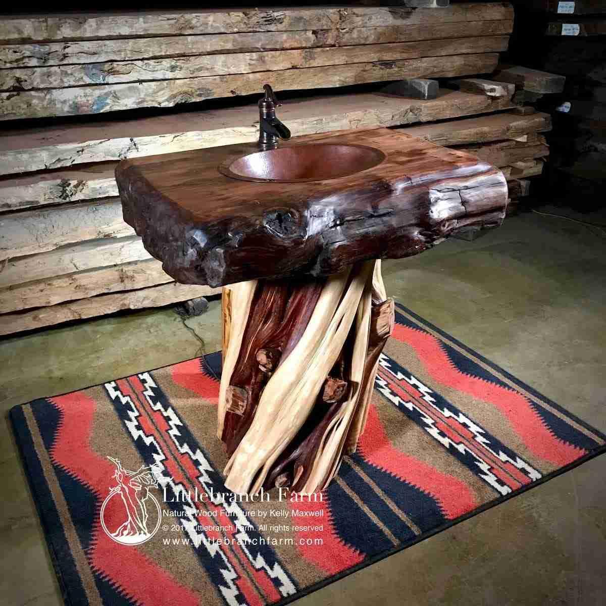 Juniper rustic vanity on area rug