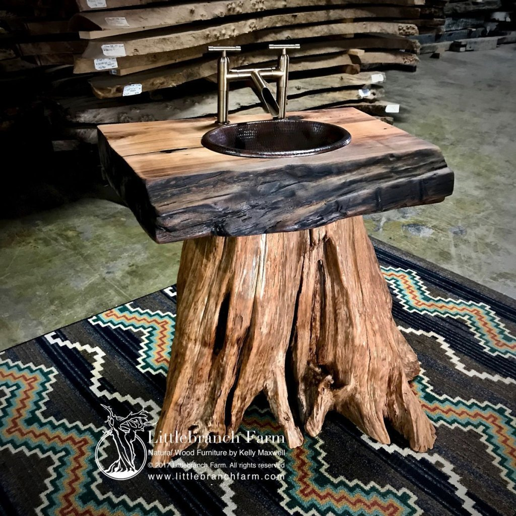 Tree stump rustic vanities