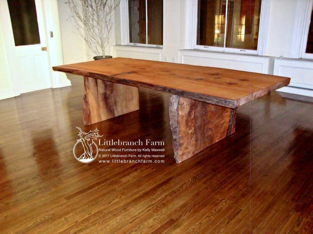 live edge table next to white walls