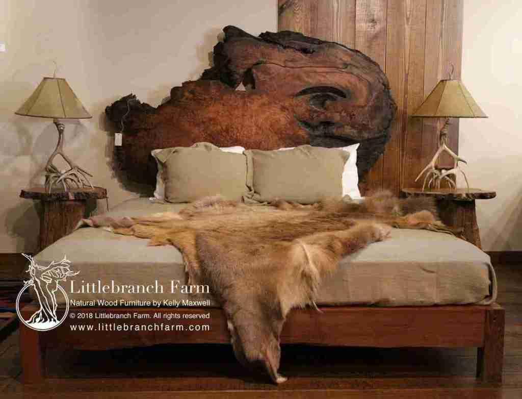 Natural wood furniture with elk hide.