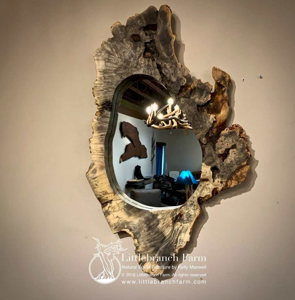 Rustic burl wood mirror