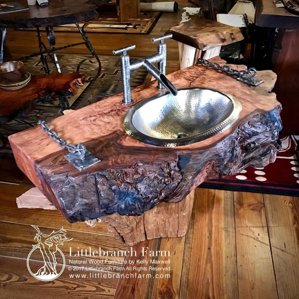 Floating vanity made from live edge redwood.