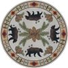 round pine cone and bear rug