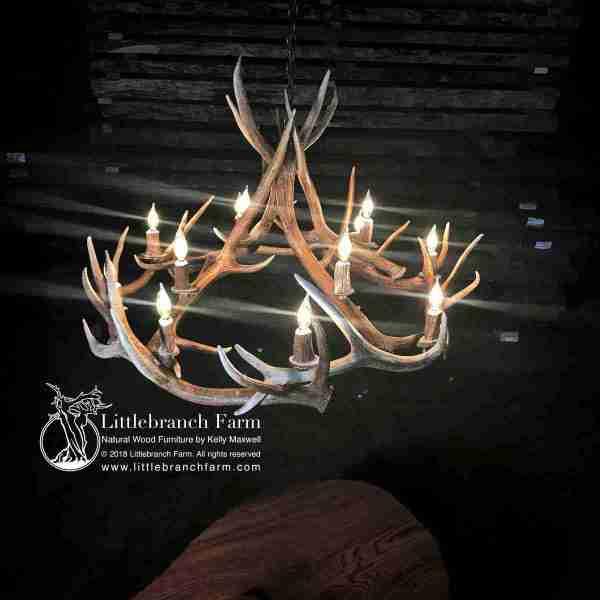 12 light elk antler chandelier