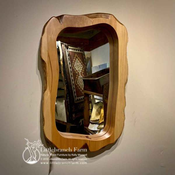 Natural slab wood mirror