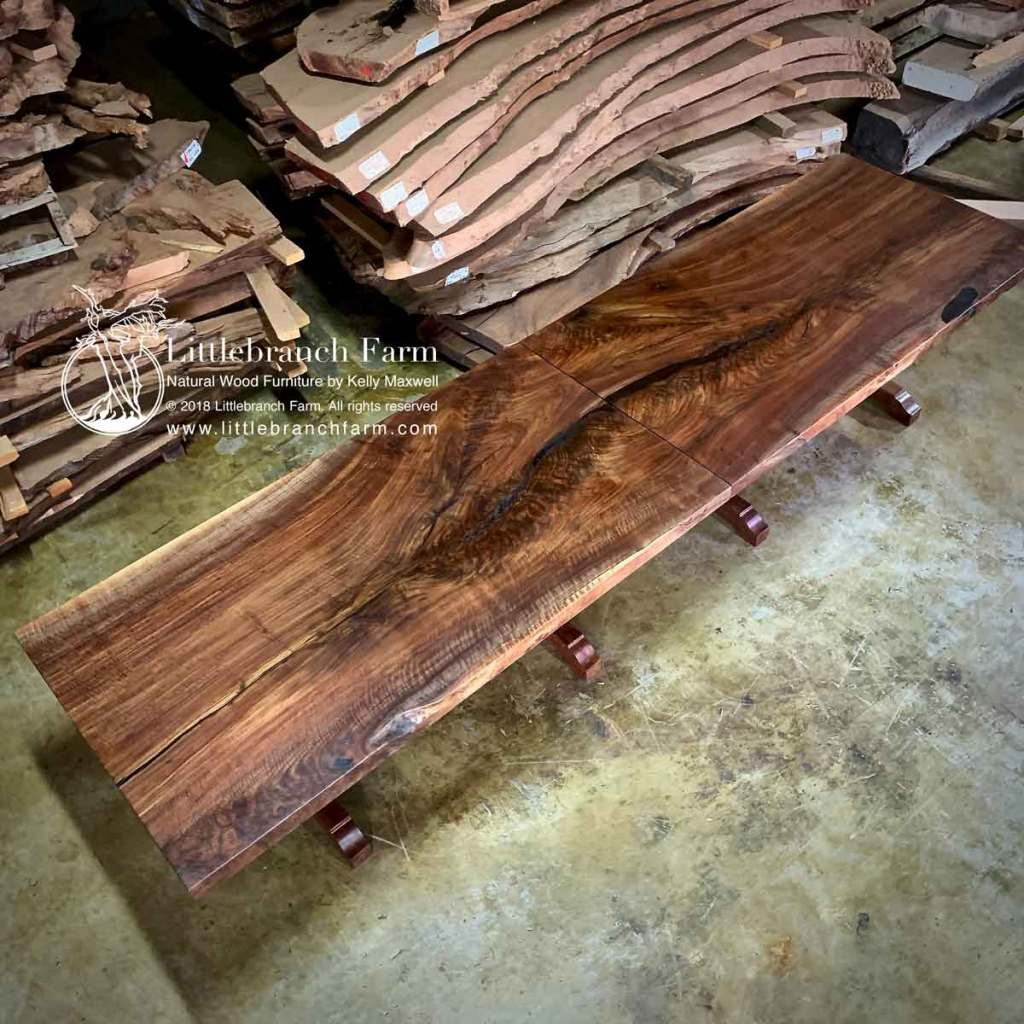 "13' wood slab table built in two 6'5"" tables"