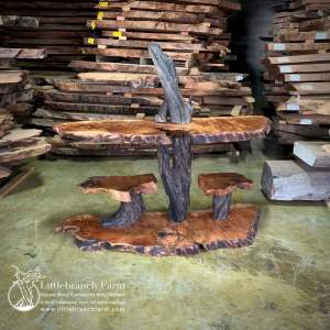 Natural wood console table with wood slabs