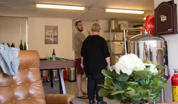 Visitors at the Little Brother Brewery during Oslo Beer Week