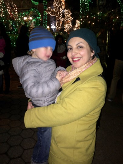 Christmas lights in Dyker Heights. He wouldn't stay still for a picture.