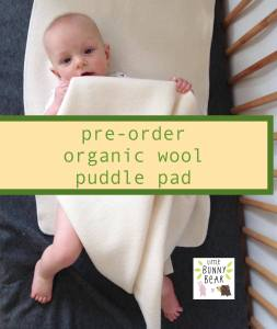 Organic wool baby mattress protector puddle pad
