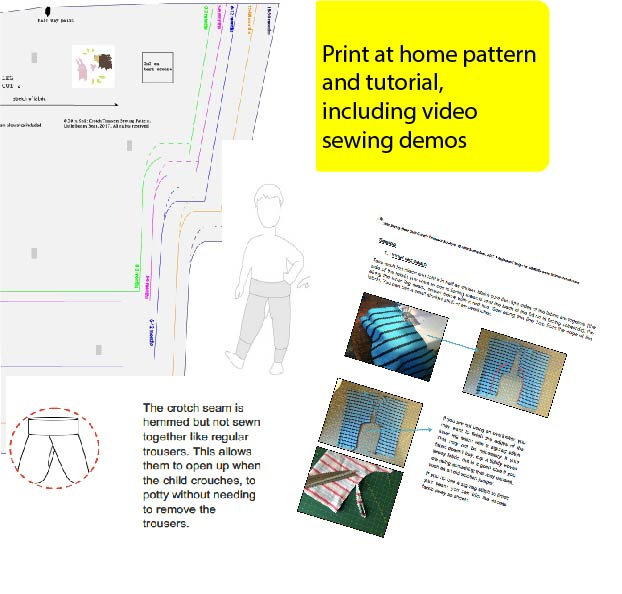 Split Crotch Trousers PDF sewing pattern sizes 0-30 months  