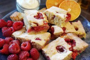 Raspberry and Orange Sheet Pan Pancake