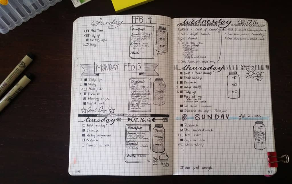 Setting up daily entries in the bullet journal