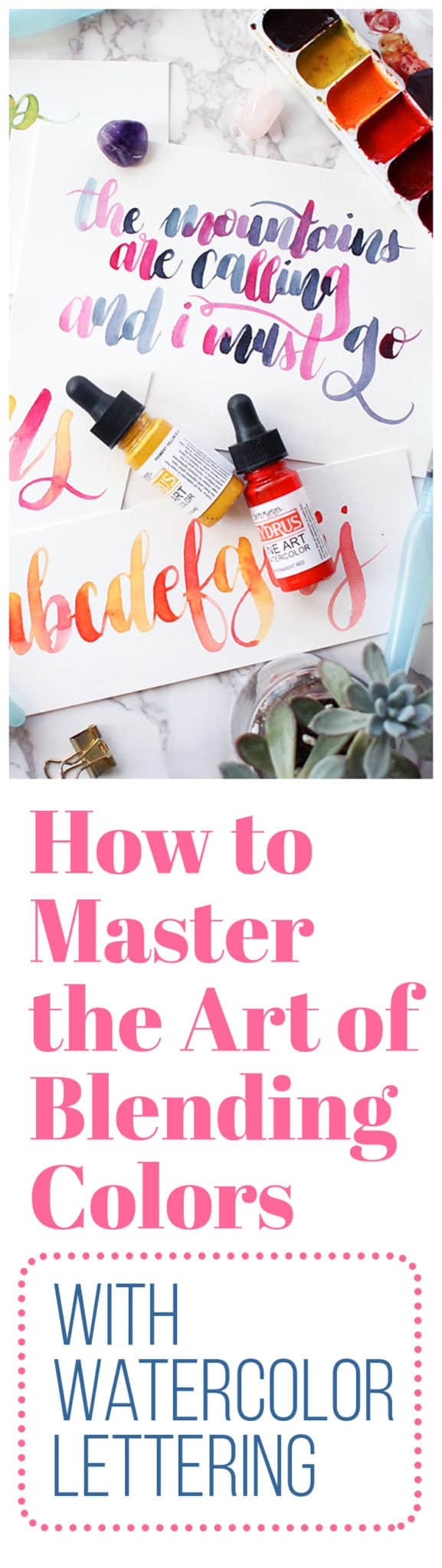 If you've tried watercolor lettering, you may have discovered that using multiple colors in the same piece is tougher than it looks. But there's a trick for how to blend colors well, and it's super easy! Once you learn this simple technique, you'll be mixing colors on the page like a pro and creating gorgeous pieces of lettering art!