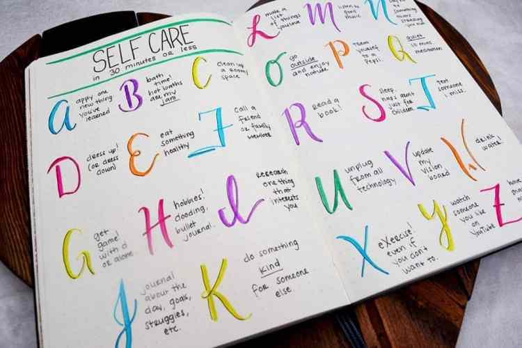 bullet journal page ideas, bullet journal weekly spread, bullet journal self care