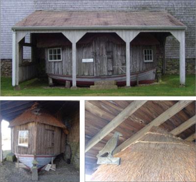 Photos of Peggotty's undersized, damaged storage building.