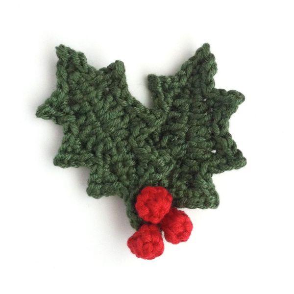 Hand-crocheted holly leaf brooch