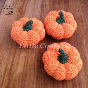 Hand-crocheted pumpkins