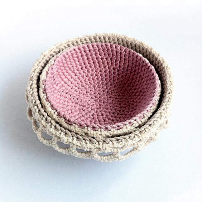 Crocheted stacking bowls