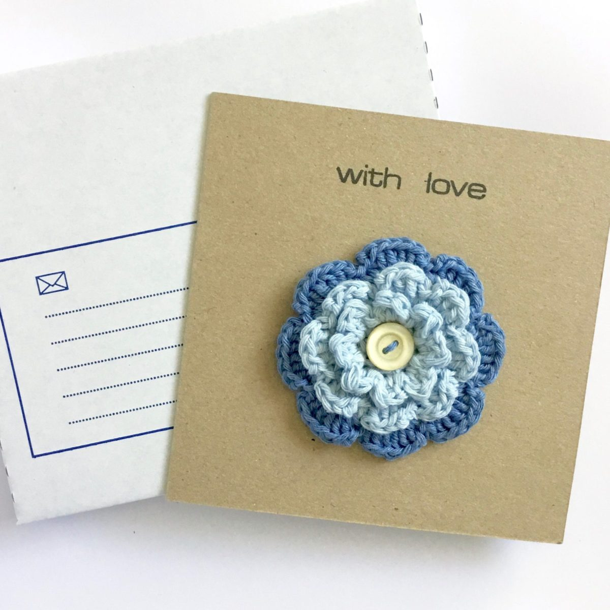 Greetings Card with Flower Brooch