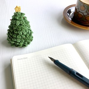 Crocheted tabletop Christmas tree