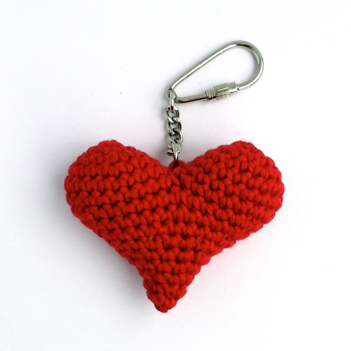 Eco-friendly Red Heart Keychain in Organic Cotton