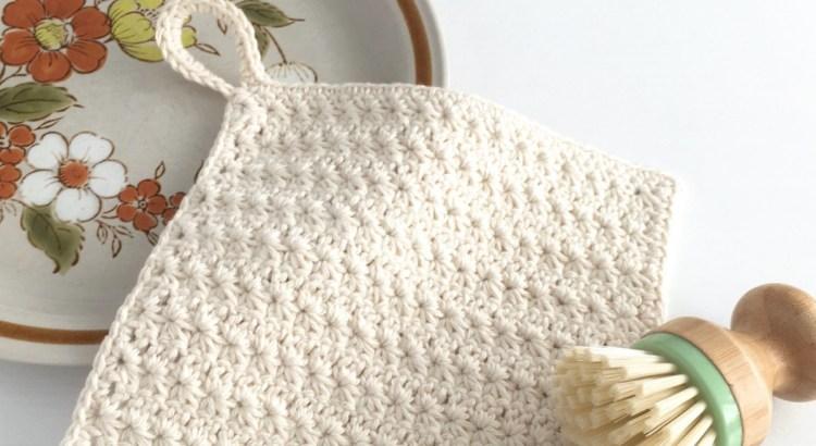 Crocheted dishcloth with star stitch