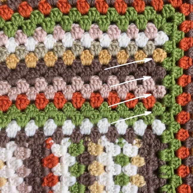 Crochet Granny Stripe Blanket Row Ends