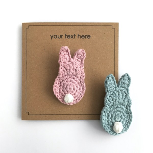 Recycled kraft greetings card with bunny brooch in pink or blue