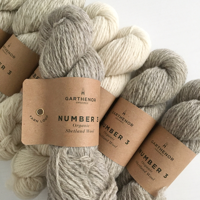Skeins of Garthenor Organic Wool Number 3 in a range of natural un-dyed colours