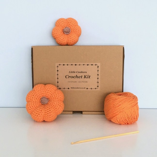 Crochet kit to make two mini orange pumpkin ornaments in organic cotton