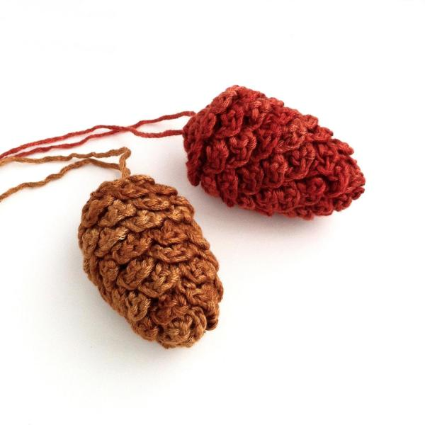 Crocheted pine cone ornaments with hanging loops