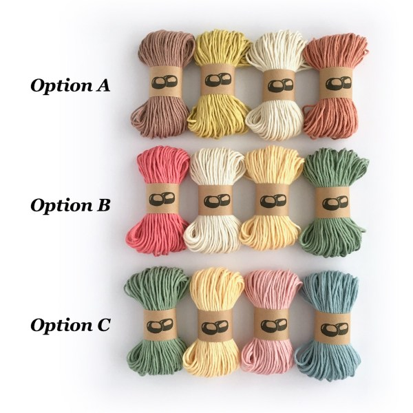 Organic cotton colour options for Linked Rings Crochet Kit