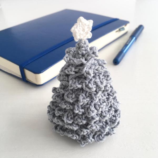 Miniature crocheted Christmas tree in pale blue