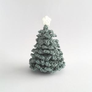 Miniature crocheted Christmas tree with white star