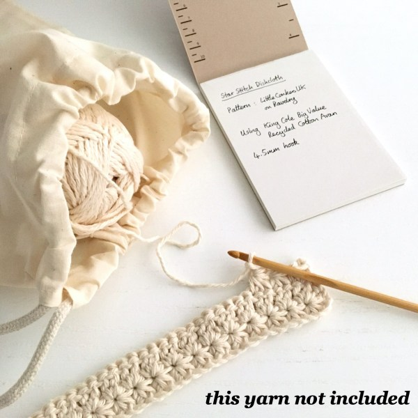 Crocheting with yarn Bag and Crochet Notepad