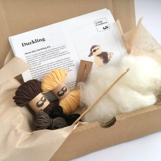 Crochet kit for a ducking in a box