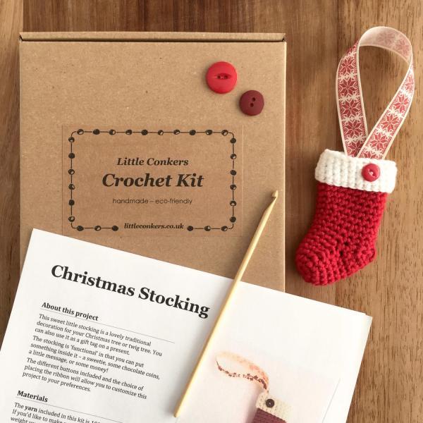 Eco-friendly Christmas Stocking Crochet Kit