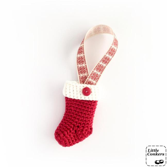 Crocheted Miniature Stocking Ornament in Red and White