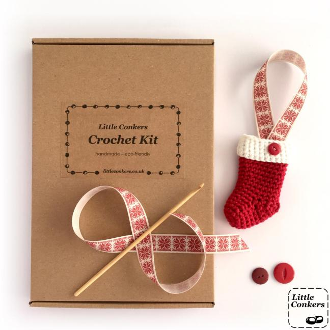 Eco-friendly Christmas Stocking Crochet Kit in brown box