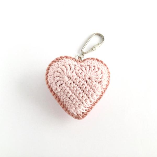 Pink crocheted heart keyring