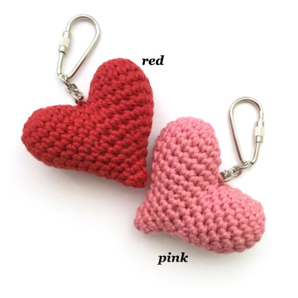 Red and pink crocheted heart keyrings