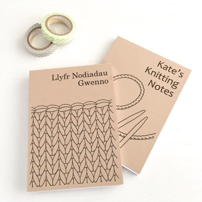 Small recycled notepads with knitting designs on covers