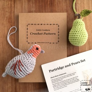 Partridge in a pear tree crochet pattern printed and in a kraft gift folder