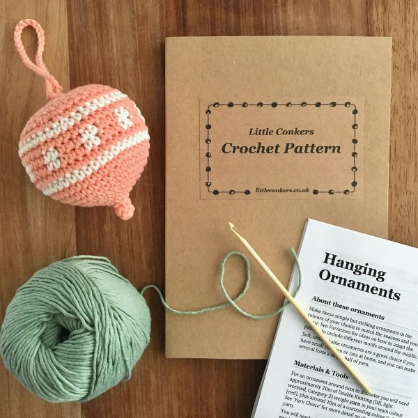 Printed crochet pattern for hanging ornaments in a kraft folder
