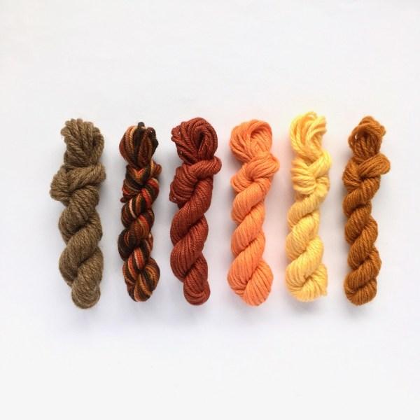 Mini yarn skeins in autumn colours